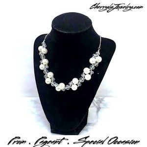 Cherryl's Jewelry - Faux Pearl & Crystal Statement Necklace
